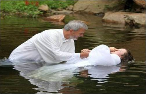 A Believer is fully immersed for Baptism
