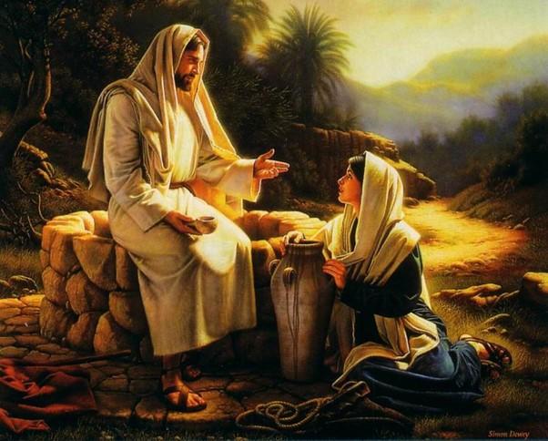 Jesus speaks to the Samaritan women at the well